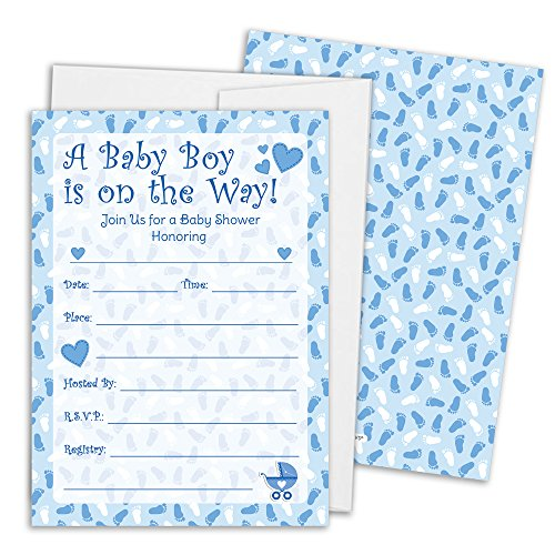 Boy Baby Shower Invitation Cards with Envelopes, 25 Count