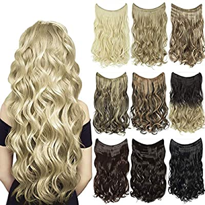 EMERLY Secret Flip Extensions 20inch One Piece Highlight Invisible Crown Headband Hairpieces Hidden Elastic Miracle Fish Wire Synthetic Wavy Ombre Hair Extensions