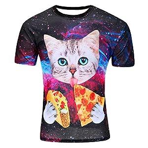 Nueva Camiseta Divertida del Gato de la Galaxia Hombres 2018 Camisetas de Manga Corta de Verano Camiseta Casual Homme 3D…