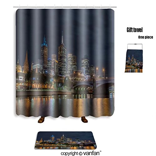 vanfan bath sets with Polyester rugs and shower curtain skyline of melbourne city and princess bridge shower curtains sets bathroom 66 x 72 inches&23.6 x 15.7 inches(Free 1 towel and 12 hooks)