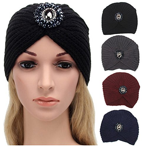 363fe8100cc Fascigirl Turban Hat Womens Winter Warm Stretch Wool Beanie Hat with  Rhinestone  Amazon.co.uk  DIY   Tools