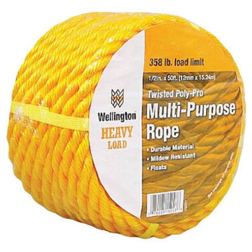 WELLINGTON CORDAGE 15027 1/2-Inch X 50-Feet Yellow Poly Rope
