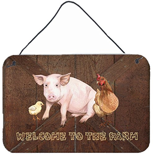 SB3083DS812 Welcome to The Farm with The Pig and Chicken Wall or Door Hanging Prints, 8x12, Multicolor ()