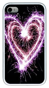 Cute Sparkle Heart TPU White Case for iphone 4S/4