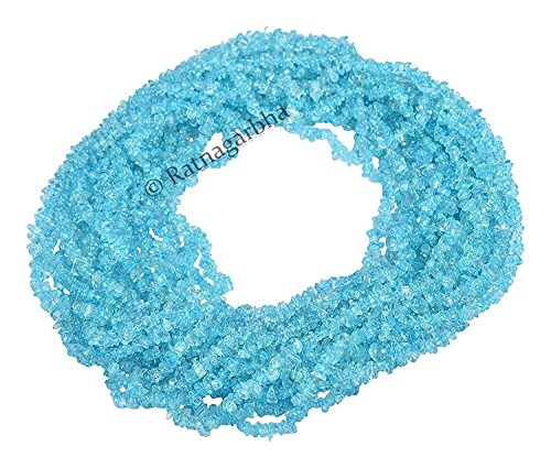 Ratnagarbha Sky Blue-Topaz Gemstone Nuggets Uncut Chips Loose Beads, 34