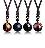 LOYALLOOK--ideal choice EVER LOYALLOOK Unisex Natural Tiger Stone Onyx Stone Lucky Blessing Chakra Beads Pendant Adjustable Healing Necklace  Four pieces necklace come as a set 1pc brown Tiger eyes charm  ,1pc shiny onyx stone engraved with Buddhist ...