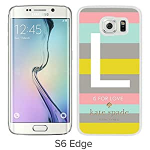 New Fashion Custom Designed Kate Spade Cover Case For Samsung Galaxy S6 Edge White Phone Case 133