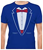 TeeStars - Printed Suit & Tie Tuxedo - Red Bow Tie Bachelor Party T-Shirt