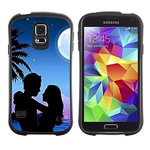 LASTONE PHONE CASE / Suave Silicona Caso Carcasa de Caucho Funda para Samsung Galaxy S5 SM-G900 / Couple Love Romance Beach Moon Palm Tree