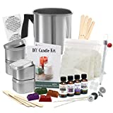 Complete DIY Candle Making Kit Supplies – Create Large Scented Soy Candles – Full Beginners Set Including 2 LB Wax, Rich Scents, Dyes, Wicks, Melting Pitcher, Tins & More - Perfect Mother's Day Gift