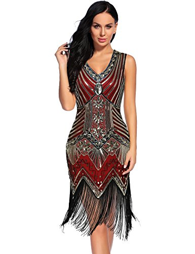 NeeMee Women's 1920s Gastby Sequin Embellished Fringed Flapper Dress  (Burgundygold,XXL)]()