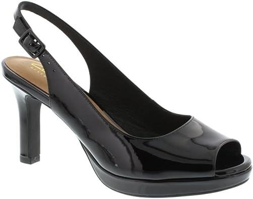 CLARKS Mayra Blossom Black Peeptoe Heel