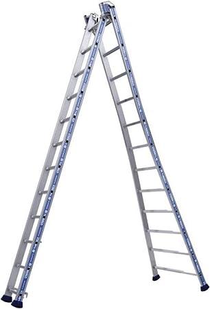 Tubesca – Escalera transformable 2 tramos 8 + 8 Peldaños haut. punto de Maxi 4,94 m – Platinium: Amazon.es: Bricolaje y herramientas