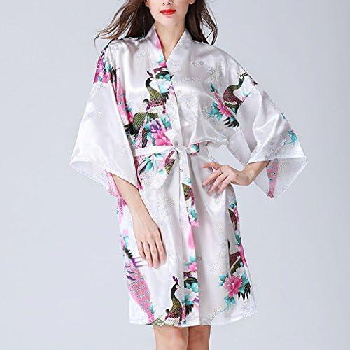 Kimono di seta di raso Accappatoio Vestaglia Matrimonio Damigella più corrispondenti Camicia da notte