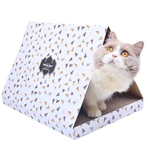- Vivaglory Cat Scratch Condo, Corrugated Cardboard Scratcher Pad Scratching Box Toy, Triangle