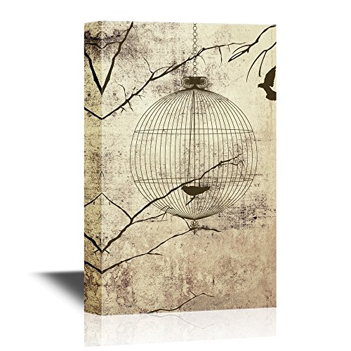 Flying Birds and Bird Cage on Vintage Background
