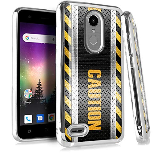 (Compatible LG Rebel 4 | Rebel 3 | Rebel 2 Case Electroplated Chrome TPU Brushed Textured Hybrid Phone Cover (Caution Crosshatch))