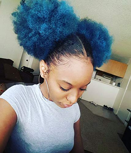 Afro Wig Drawstring Puff Ponytail Sissi's Fashion Hair African American Afro Short Kinky Curly Wrap Drawstring Puff Ponytail Bun Extension (1B/BLUE)