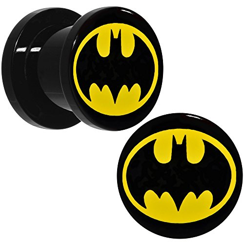 DC+Comics Products : Officially Licensed DC Comics Black Acrylic Yellow Batman Logo Screw Fit Plug Set 00 Gauge