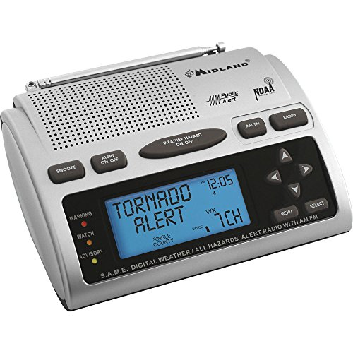 Midland All in One Weather Alert Emergency Digital AM/FM Dual Alarm Clock Radio with Large Easy to Read Backlit LCD Display, Built-in Speaker, Weather Alerts, NOAA and Public Alert Certified