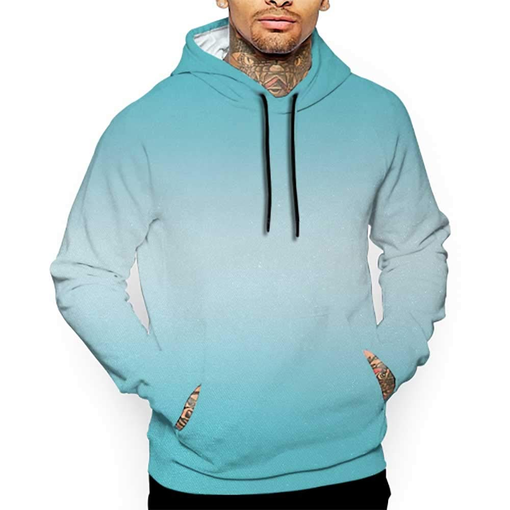 Unisex 3D Novelty Hoodies Ombre,Open Blue Sky on a Spring Day Inspired Vivid Blue Colored Modern Nature Design Art,Turquoise Sweatshirts for Girls