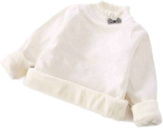 Etecredpow Girl Pullover Solid Knitted Thicken Mock Neck Sweater