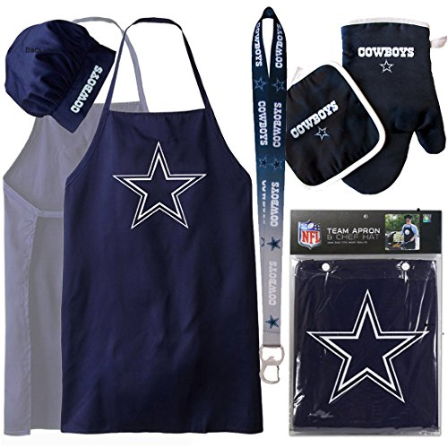 - Dallas Cowboys ( Apron Set with Oven Mitt and Ombre Lanyard ) Back Yard Tailgate BBQ Set NFL