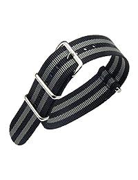 20mm Black/Grey Luxury Exquisite Men's one-piece NATO style Nylon Perlon Watch Bands Straps Textile