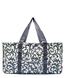 Large Tote Bag Collapsible~23''~Utility~Laundry~Diapers~Picnic~Shopping~Organize (Gray & White Damask)