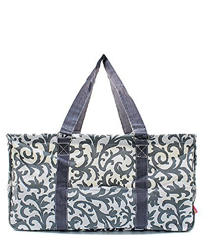 Large Tote Bag Collapsible~23''~Utility~Laundry~Diapers~Picnic~Shopping~Organize (Gray & White Damask) by DBTR Products