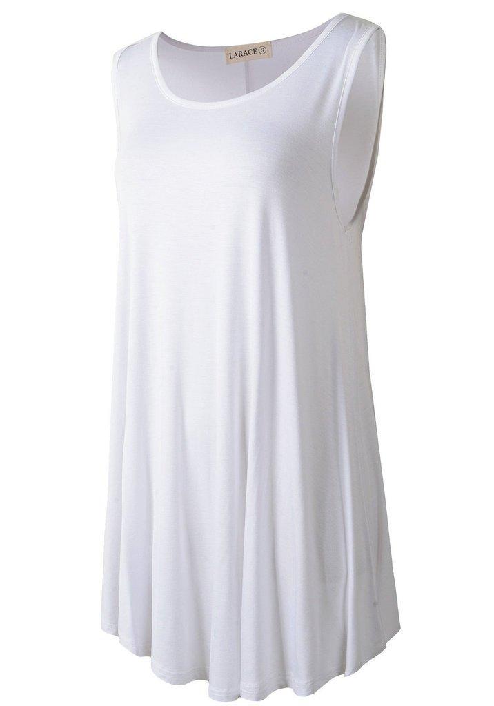 LARACE Women Solid Sleeveless Tunic for Leggings Swing Flare Tank Tops (L, White) by LARACE (Image #2)