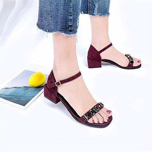 YMFIE Nueva Moda de Verano Diamante Toe Toe Sandalias Dama Elegante y cómoda y Zapatos de Gamuza Parte Banquetes b