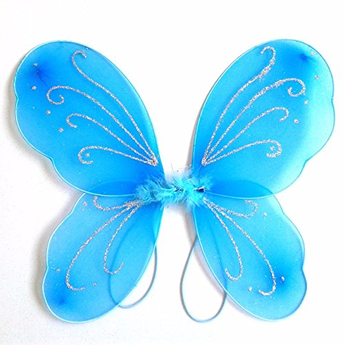 Girls Butterfly Craze Fairy Wings For Fairy Costumes Sparkle Fairy Princess Wings Party Favor blue -