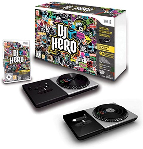 Cases Turntable Consoles (DJ HERO Game Double Bundle with Two Turntables Controllers for Nintendo Wii/Wii U Set)
