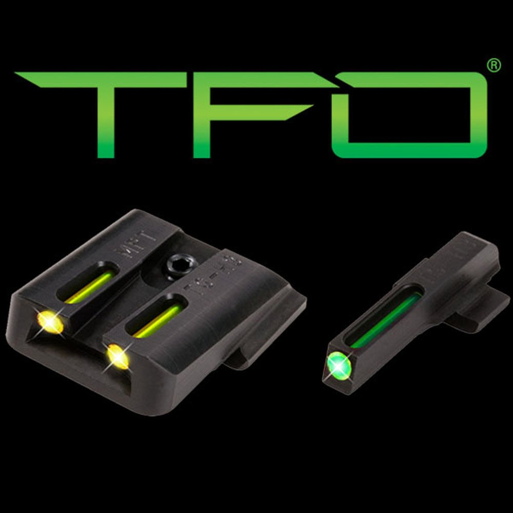 Truglo TFO Handgun Sight Set - S&W M&P Green/Yellow Rear