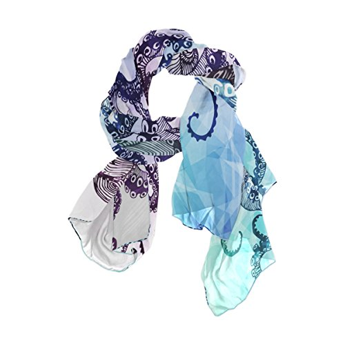 ALAZA Lightweight Abstract Watercolor Octopus Chiffon Silk Long Scarf Shawl Wrap