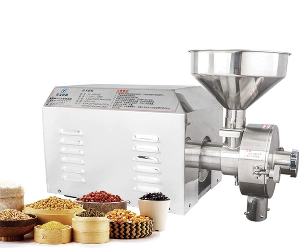CGOLDENWALL Commercial Stainless steel Spice and Chinese Herb Grinder Industrial Electric Peppe Grain Mill Soybean Grain Food Grinding Machine 15-50kg h Voltage 110V