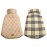 Kuoser Dog Coats Dog Jackets Waterproof Coats for Dogs Windproof Cold Weather Coats Small Medium Large Dog Clothes Reversible British Plaid Dog Sweaters Pets Apparel Winter Vest for Dog Beige S