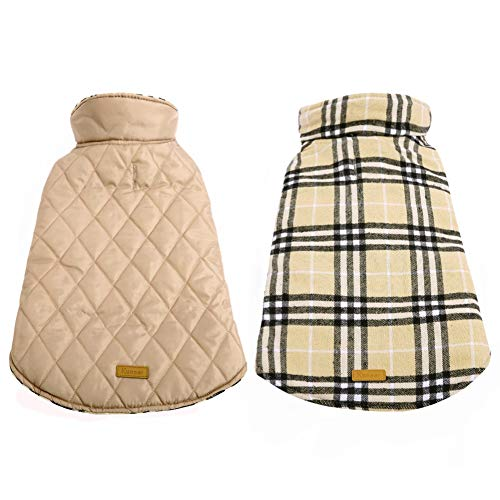Kuoser Cozy Waterproof Windproof Reversible British Style Plaid Dog Vest Winter Coat Warm Dog Apparel for Cold Weather Dog Jacket for Small Medium Large Dogs with Furry Collar (XS - 3XL) (XL, Beige) -