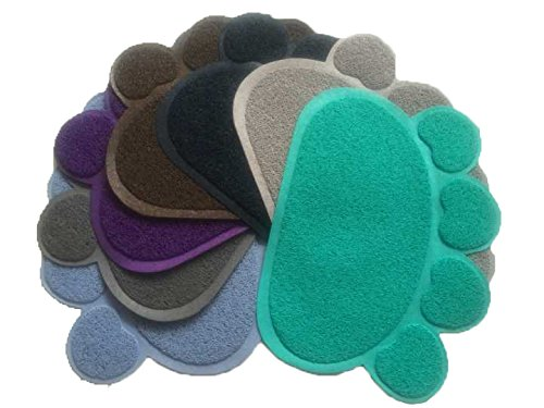 Cat Litter Mat- Kitty Soft Scatter Control System for Trapping Food Waste Tracking Water Mess - FurBetter & FurBest for Comfortable Neat Clean Tidy Environment (Dark Blue)