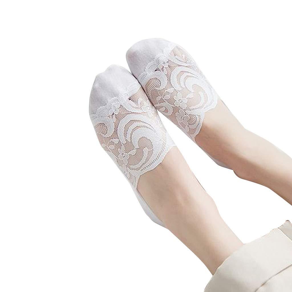 Sharemen Women'S Deep-Slip Lace Boat Socks Hollow Invisible Girl Socks