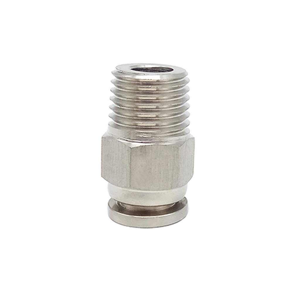 Metalwork 304 Stainless Steel Push to Connect Air Fitting, Male Straight Connector, 12mm OD x 3/8'' NPT Male (Pack of 10) by Metalwork (Image #1)