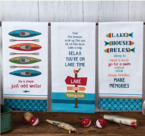 Kay Dee Designs Lake Life Assorted Set Flour Sack Towels, Set of 3