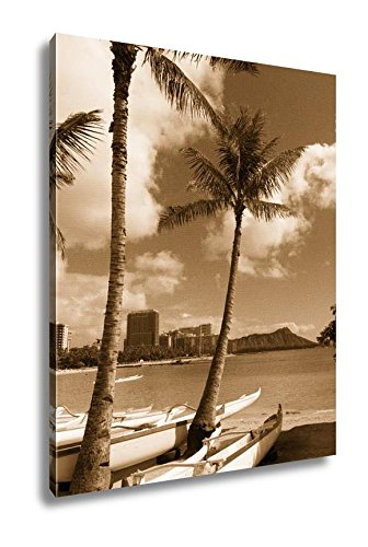 Ashley Canvas Night Falls Honolulu Downtown City Skyline Metropolis Hawaii United States, Wall Art Home Decor, Ready to Hang, Sepia, 20x16, AG6405901 by Ashley Canvas