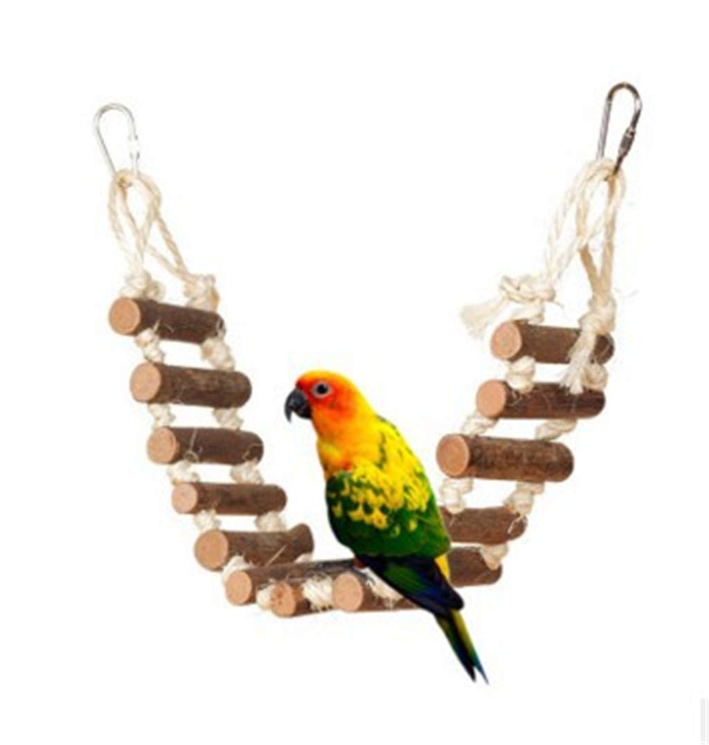Whryspa Pet Birds Parrot Swing Toys Climbing Ladder Wooden Chewing Hanging Rope Bell Decor,A by Whryspa