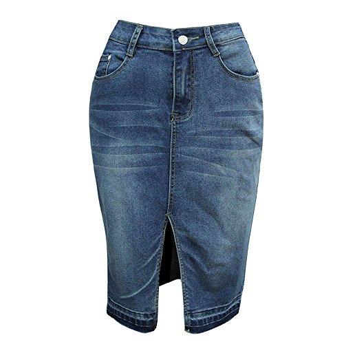 Back Slit Denim Skirt - Womens High Waisted Denim Front Split Pencil Skirt with Stretch