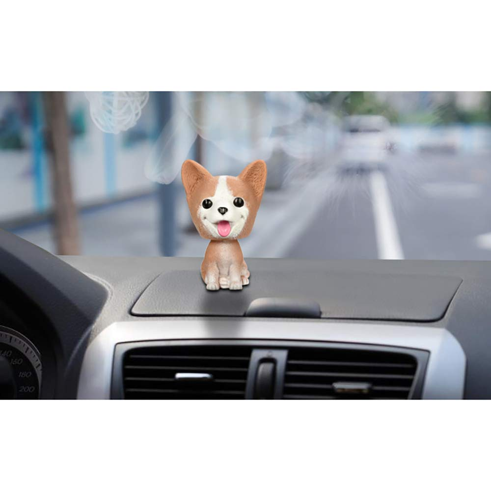 Beautyflier Natural Resin Cute Corgi Bobble Head Dog Car Rock Head Dog for Car Home Office Decoration