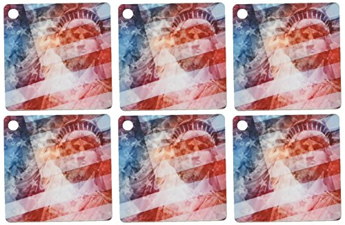3dRose Patriotic Lady Liberty digital collage features the Statue of Liberty and American flag - Key Chains, 2.25 x 4.5 inches, set of 6 (kc_19439_3) (Liberty Statue Chains Of)