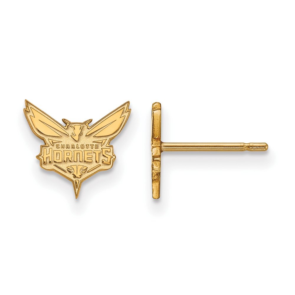 NBA Charlotte Hornets X-Small Post Earrings in 14K Yellow Gold