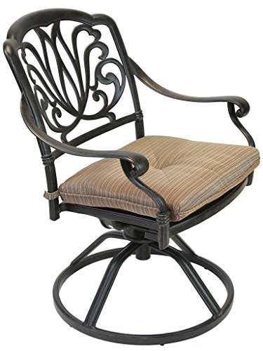 Heritage Outdoor Living Elisabeth Cast Aluminum Swivel Rocker with Seat Cushion - Antique Bronze